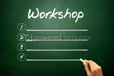Business: Hand drawn Workshop blank list concept on blackboard