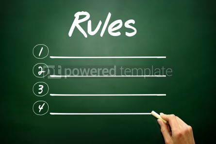 Business: Hand drawn RULES blank list concept on blackboard