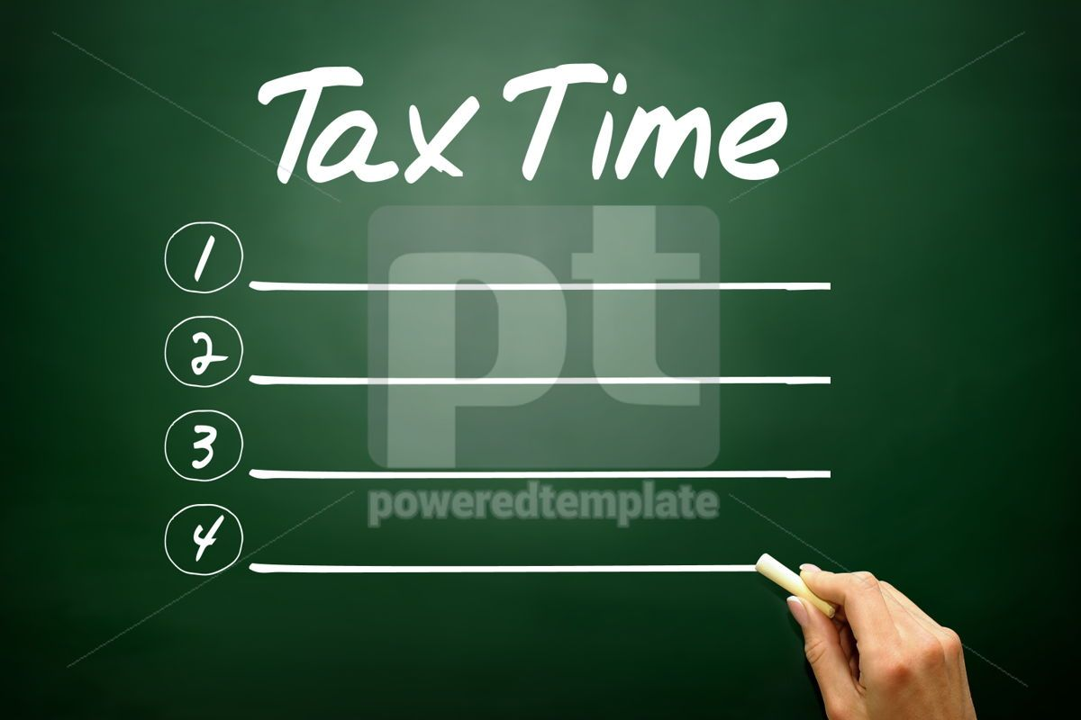 Hand drawn TAX TIME blank list business concept on blackboard, 02638, Business — PoweredTemplate.com