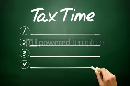 Business: Hand drawn TAX TIME blank list business concept on blackboard