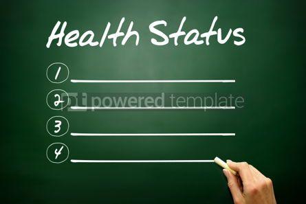 Business: Hand drawn Health Status blank list business concept on blackbo #02645