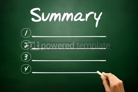 Business: Hand drawn SUMMARY blank list business concept on blackboard