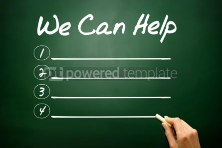 Business: Hand drawn WE CAN HELP blank list business concept on blackboar #02654