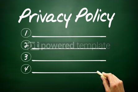Business: Hand drawn Privacy Policy blank list business concept on blackb #02659