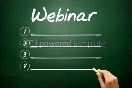 Business: Hand drawn Webinar blank list business concept on blackboard #02663