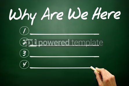 Business: Hand drawn Why Are We Here blank list business concept on black #02666