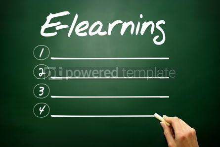 Business: Hand drawn E-learning blank list business concept on blackboard #02668