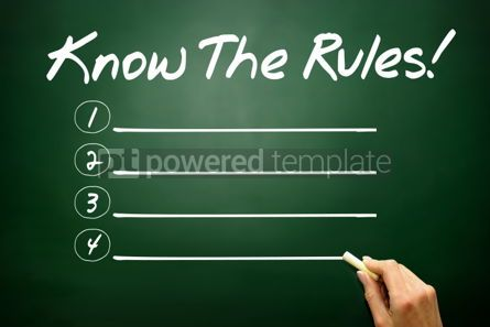 Business: Hand drawn Know The Rules! blank list business concept on black #02673