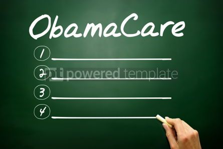 Business: Hand drawn ObamaCare blank list business concept on blackboard