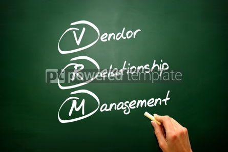 Business: Conceptual VRM acronym Vendor relationship management on blackbo #02676