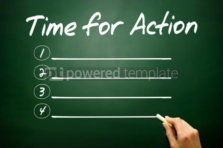 Business: Hand drawn Time for Action blank list business concept on black #02678