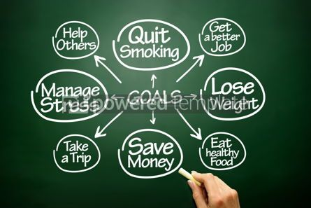 Business: Hand drawn Goals flow chart business concept on blackboard #02693