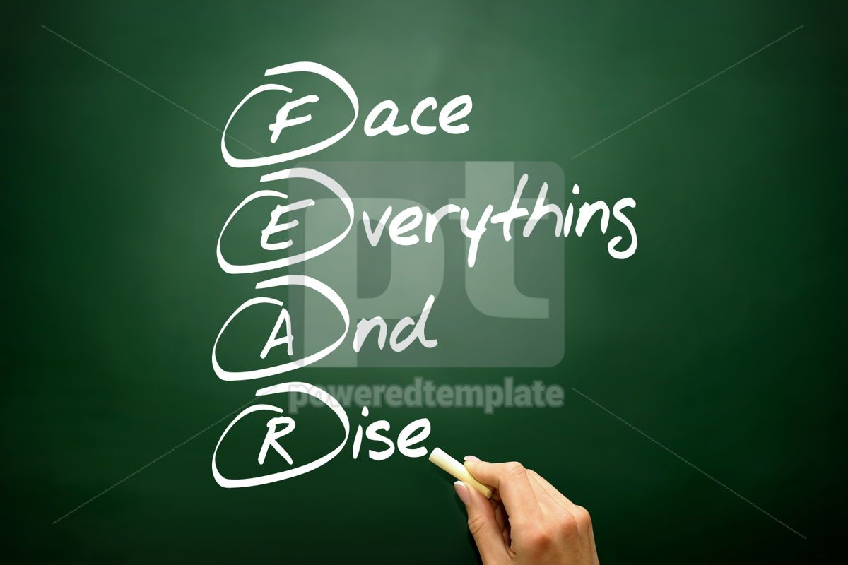 Hand drawn Face Everything And Rise (FEAR) acronym business con, 02698, Business — PoweredTemplate.com