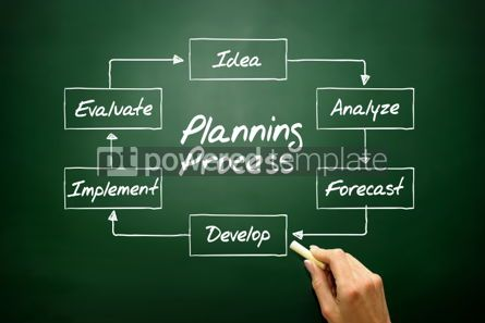 Business: Hand drawn Planning Process flow chart business concept on blac #02714