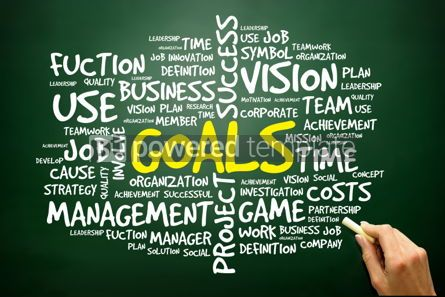 Business: Hand drawn Word cloud of GOALS related items business concept  #02751