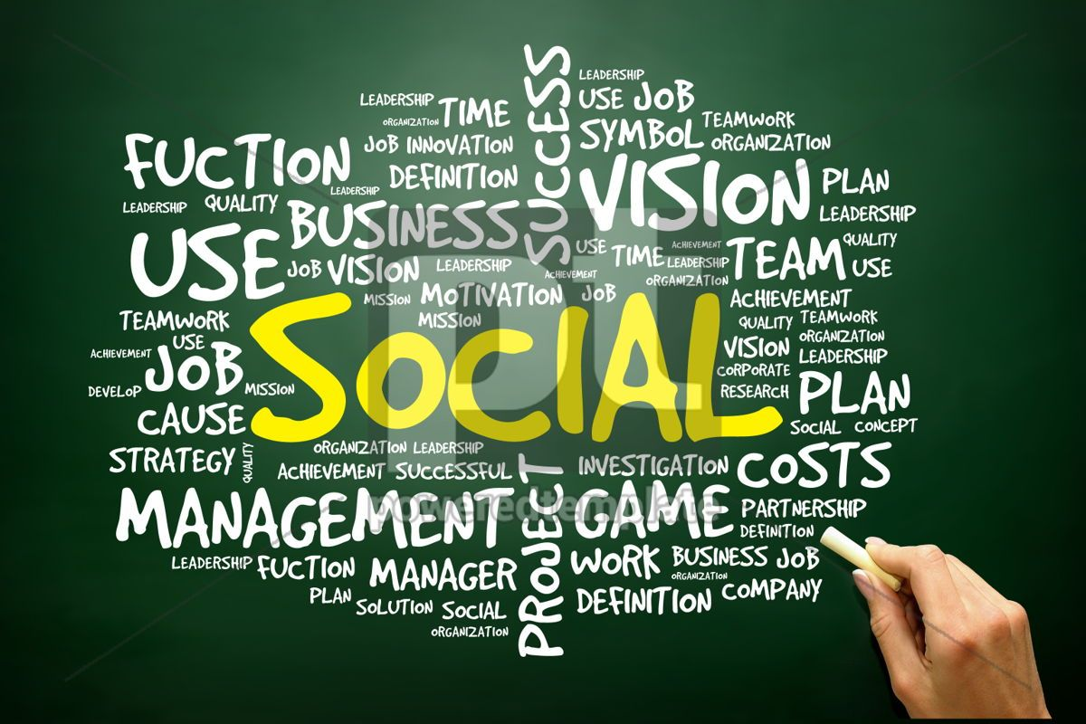 Hand drawn Word cloud of SOCIAL related items business concept, 02761, Business — PoweredTemplate.com