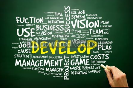 Business: Hand drawn Word cloud of DEVELOP related items business concept #02764