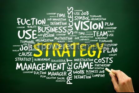 Business: Hand drawn Word cloud of STRATEGY related items business concep #02765