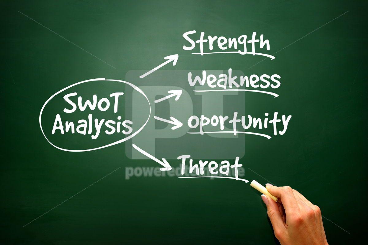 Conceptual hand drawn SWOT Business Analysis flow chart, 02778, Business — PoweredTemplate.com