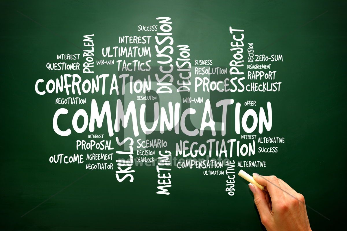 Communication business concept words cloud on blackboard presen, 02780, Business — PoweredTemplate.com