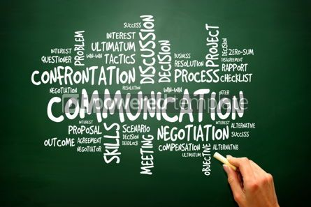 Business: Communication business concept words cloud on blackboard presen #02780