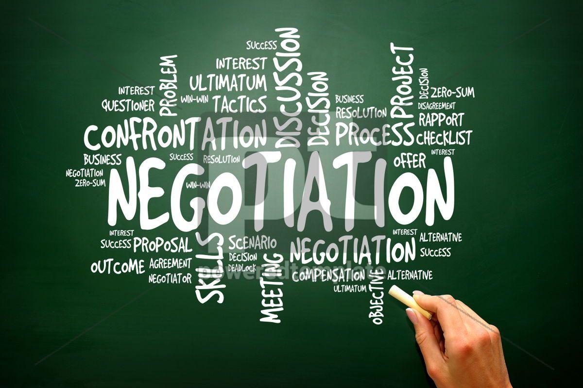 Negotiation business concept words cloud presentation backgroun, 02782, Business — PoweredTemplate.com