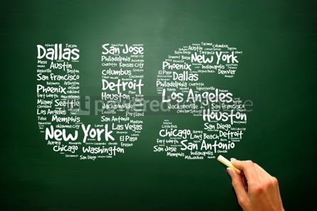 Business: US letters with cities names words cloud presentation backgroun #02792