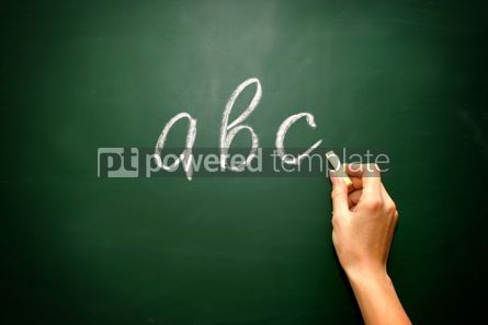 Business: abc letters and chalk with woman hand 