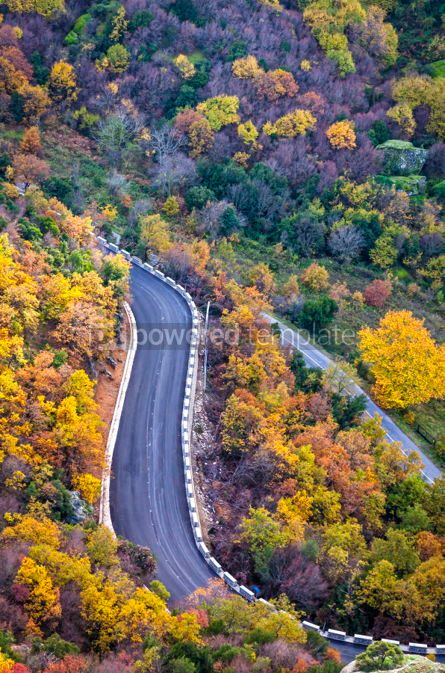 Nature: Picturesque mountain road in autumn. Meteora Rocks Greece #02866