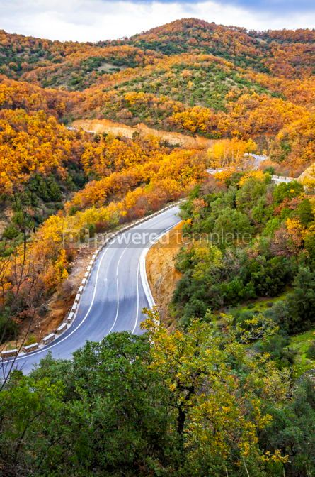 Nature: Picturesque mountain road in autumn. Meteora Rocks Greece #02867
