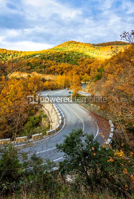 Nature: Picturesque mountain road in autumn. Meteora Rocks Greece #02868