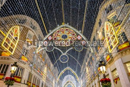 Holidays: Christmas decorations on the streets of Malaga city Andalusia  #02877