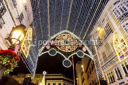Holidays: Christmas decorations on the streets of Malaga city Andalusia  #02878