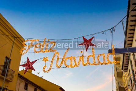Holidays: Christmas decorations on the streets of Ronda city Andalusia S #02882