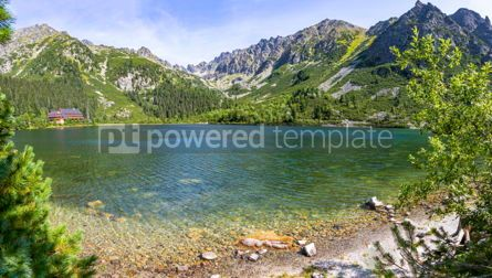 Nature: Panoramic view of Popradske Pleso lake in High Tatras mountains #02887