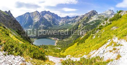 Nature: Panoramic view of lake Popradske Pleso in High Tatras mountains #02888