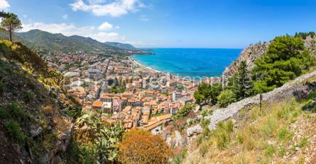 Nature: Panoramic aerial view of Cefalu old town Sicily Italy #02896