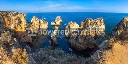 Nature: Panoramic view of rocky seacoast near Lagos Algarve Portugal #02902