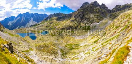 Nature: Panoramic view of High Tatras mountains and Zabie lakes Slovaki #02904
