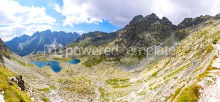 Nature: Panoramic view of High Tatras mountains and Zabie lakes Slovaki #02905