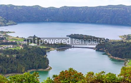 Nature: Lake of Sete Cidades on Sao Miguel island Azores Portugal #02948