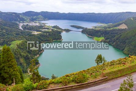 Nature: Lake of Sete Cidades on Sao Miguel island Azores Portugal #02949