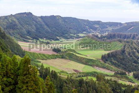 Nature: Green hilly terrain on Sao Miguel island of Azores Portugal #02952