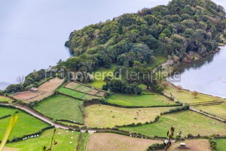 Nature: Green hilly terrain on Sao Miguel island of Azores Portugal #02954