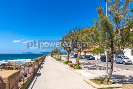 Architecture : Sea promenade and the old walls of Alghero city Sardinia Ital #02971