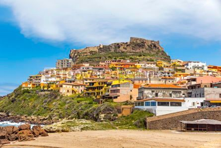 Architecture : Picturesque view of Medieval town of Castelsardo Sardinia Ital #02982