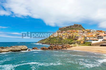 Architecture : Picturesque view of Medieval town of Castelsardo Sardinia Ital #02983
