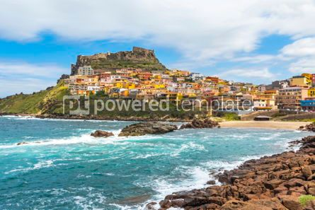 Architecture : Picturesque view of Medieval town of Castelsardo Sardinia Ital #02985