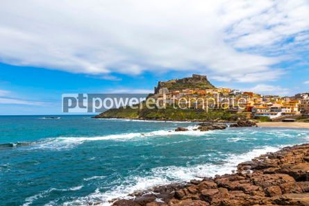Architecture : Picturesque view of Medieval town of Castelsardo Sardinia Ital #02986