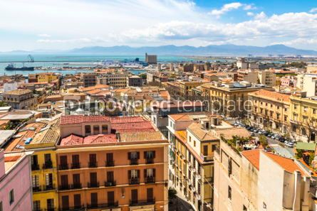 Architecture : Aerial view of Cagliari old town Sardinia Italy #02988